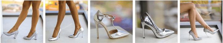 Pantofi dama stiletto argintii
