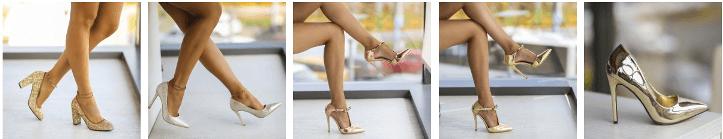 Pantofi stiletto toc inalt aurii