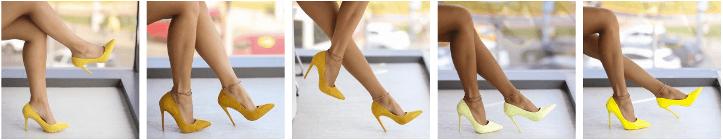 Pantofi dama stiletto galbeni