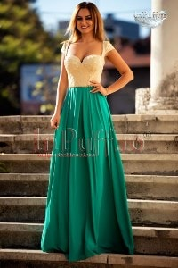 Rochie lunga turquoise si bust bej auriu