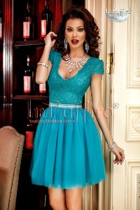 Rochie baby doll dantela turquoise si tul