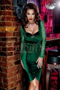 Rochie eleganta catifea verde maneca broderie